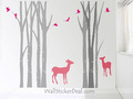 Birch pokok Forest With Deer and Birds dinding Stickers