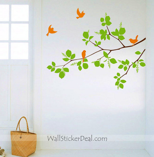 Birds With Branches Стена Stickers