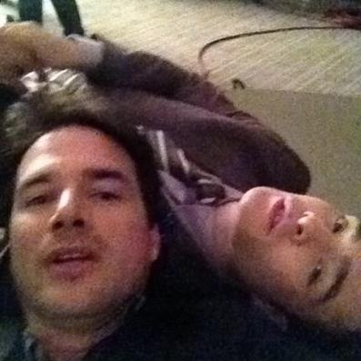Ed with Matthew on set