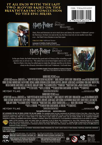 Harry Potter: Year 7 BD/DVD sets with Deathly Hallows: Parts 1 & 2