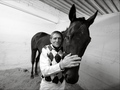 Josef Vana and black horse