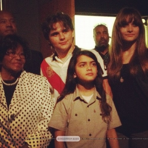 Katherine Jackson with her grandkids Prince Jackson, Blanket and Paris Jackson in Gary, Indiana