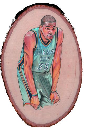 Kevin Durant on wood door Khyjuan Mansker