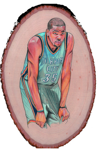 Kevin Durant on wood