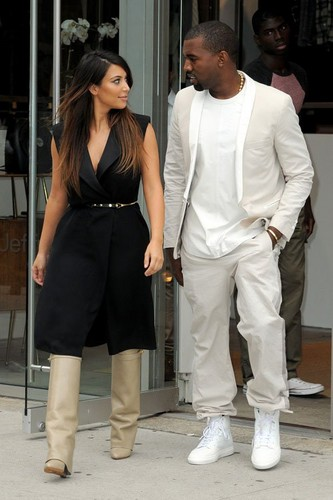 Kim Kardashian wallpaper with a business suit and a well dressed person titled Kim Kardashian out in NYC with Kanye West (September 2)
