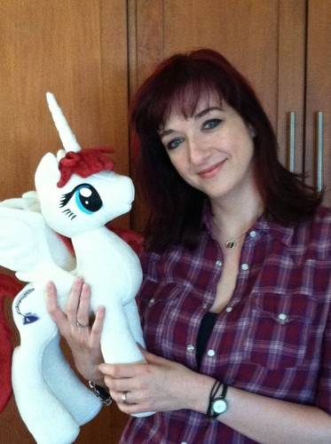 Lauren Faust with her Plushie
