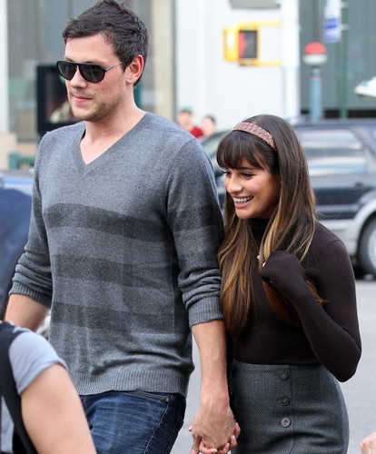 Lea Michele, Cory Monteith & Chris Colfer On Set in New York