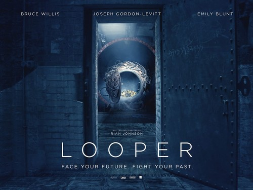 Looper wallpaper probably containing a sign, a vault, and a guillotine titled Looper Poster Wallpaper