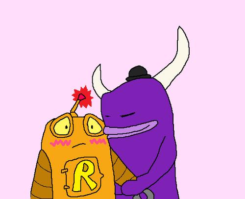 Monster kisses Robot!