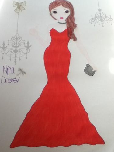 My drawing of Nina Dobrev's red dress