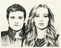 Peeta and Katniss drawing por Jenny Jenkins