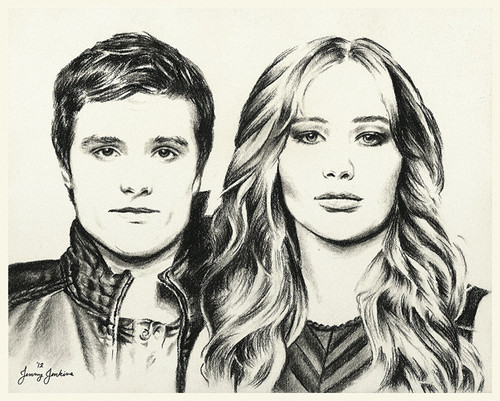 Peeta and Katniss drawing by Jenny Jenkins