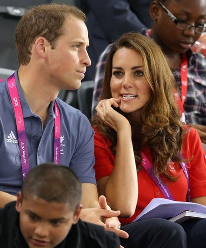 Prince William and Kate watching the track cycling on day 1 of the London 2012 Paralympic Games