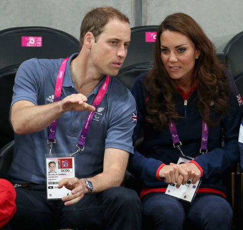Prince William and Kate watching the track 循环, 骑自行车 on 日 1 of the 伦敦 2012 Paralympic Games