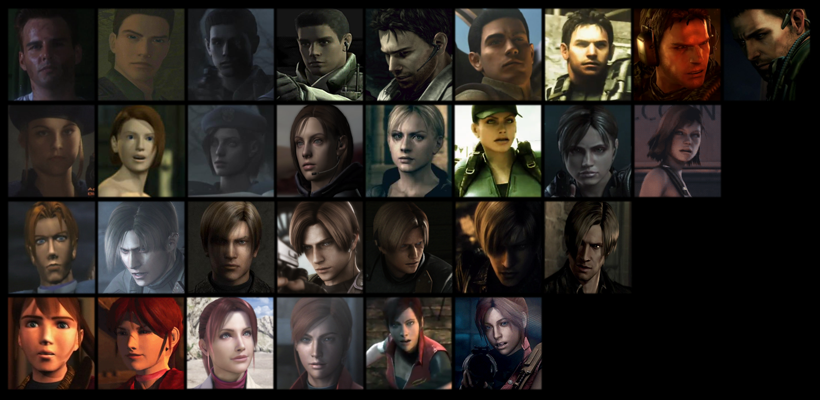 Resident Evil RE Characters through the years