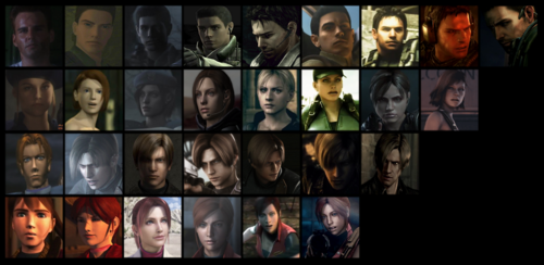 Resident Evil fond d'écran probably with a stained glass window and animé called RE Characters through the years