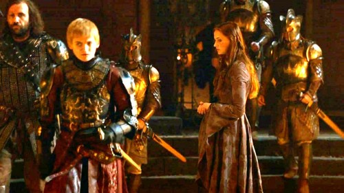 Sansa with Joffrey and Sandor