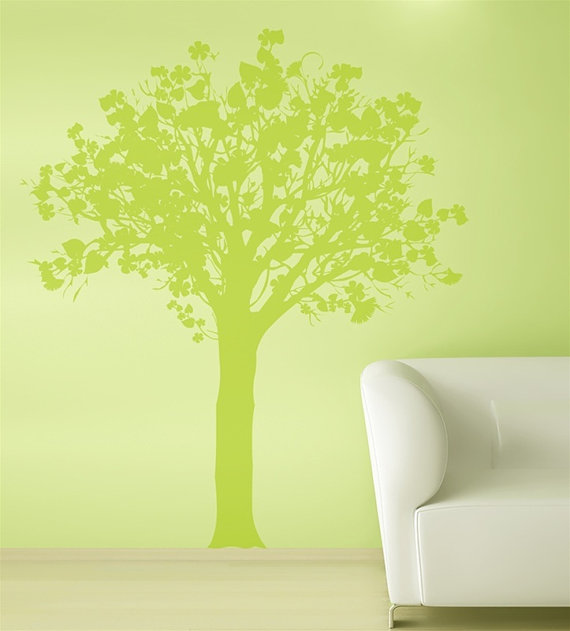 Wall Art Trees Green : Spring green tree wall sticker home decorating photo