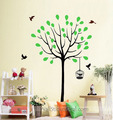 Spring pokok with Birds and Birdcage dinding Stickers