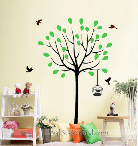 Spring বৃক্ষ with Birds and Birdcage দেওয়াল Stickers