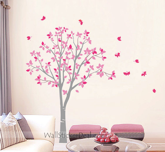 arbre with papillon mur Stickers