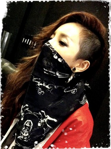 DARA 2NE1 Hintergrund probably with a portrait called dara in black mask