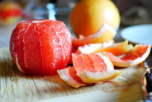 peeled red grapefruit