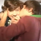 Lou kissing Harry's cheek