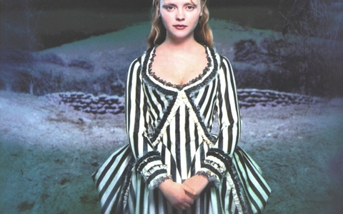 When is Katrina Van Tassel wearing the stripy dress?