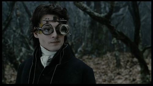 How many times does Ichabod wear his goggles in the movie?