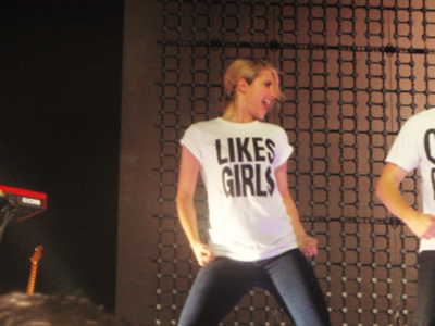 """Why was Dianna Agron wearing a shirt that read """"Likes Girls""""?"""