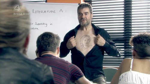 Who is tattooed on this English teacher's chest?