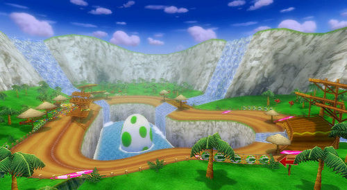 Yoshi Falls is a race course in the Mario Kart series. It FIRST appeared in ...