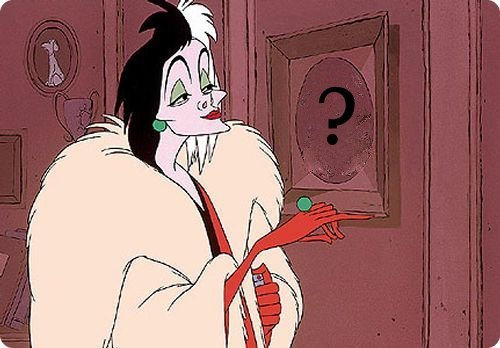 Who is in the painting Cruella is looking at ?