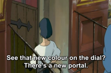 What are the new 색깔 on the portal after Howl's done the moving?
