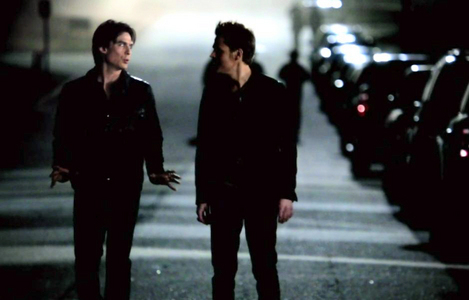 """Stefan's: """"Better be careful, brother. You're .... showing."""" earns him an ass-kicking by Damon."""