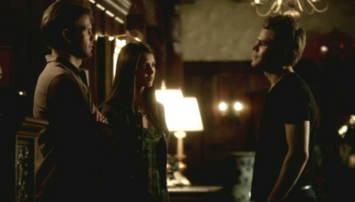 """I still have hope...and I'm not giving up."" ""Elena, do you know how pathetic that makes you."" ""No, Stefan. It makes me strong."" Does she then punch or stab Stefan?"