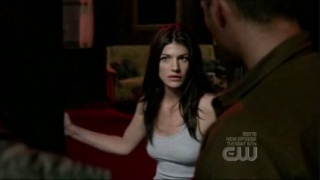 What did Ruby say after she seen Dean and Bobby standing at the door in this scene? and what did Dean say?