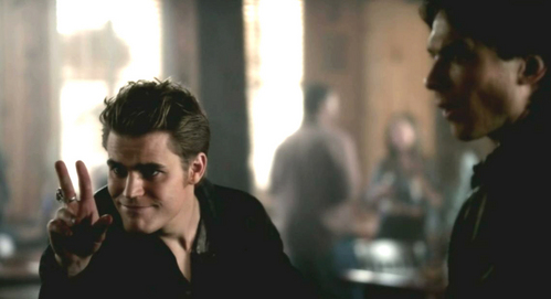 "Damon: ""So, what are we drinking?"" Stefan: ""Oh, something a little bit warmer, and a little ...?"""