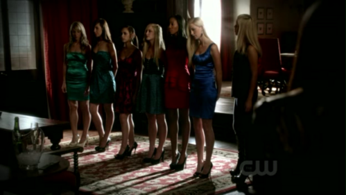 What color was the dress Elena had to choose because Rebekah asked her?