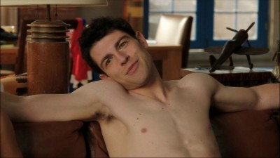 Which is the first episode we don't see Schmidt shirtless in?