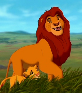 How many times did Mufasa grab Simba with his mouth?