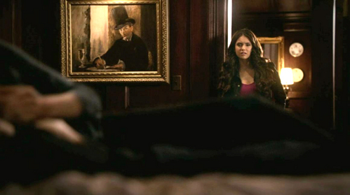 "In episode 2:22 After witnessing Elena's kiss, Katherine brings the cure for Damon and responds how to Elena's ""Where's Stefan?"""