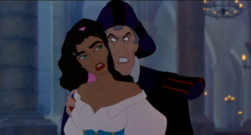 When Frollo was with Esmeralda in this scene,what was the last thing he said to her as he was leaving?