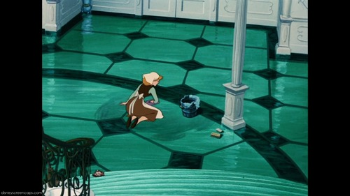 T/F:Cinderella is the only one who cleaned floor 또는 stair with brush 또는 rag. (protagonist)