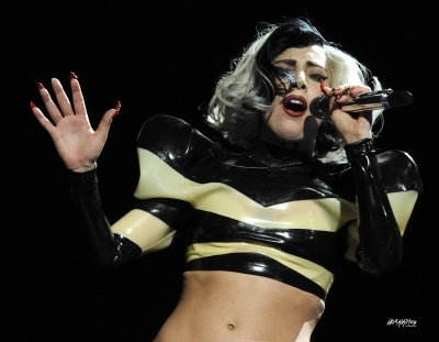 Where is Lady Gaga performing in this photo?