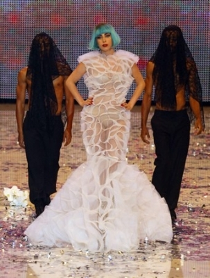 (T/F) Gaga had just performed at Germany's Next Top Model when this photo was taken.
