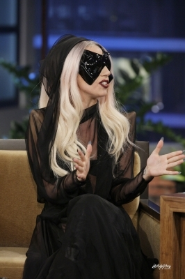 Who is interviewing Gaga in this photo?