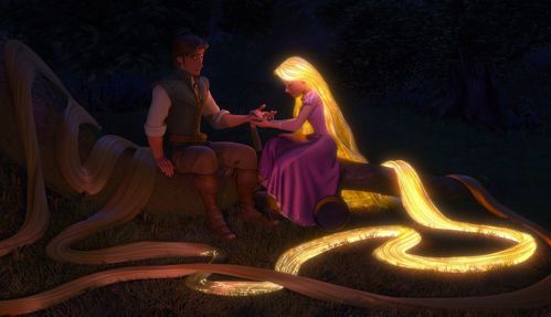 How many times did Rapunzel's hair glow in the movie?