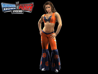 What color is the attire that takes Mickie James in SvR 2010?